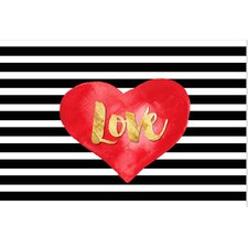 'Red Heart Love on Stripe Black and White' Graphic Art