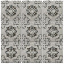 """Diego 7.75"""" x 7.75"""" Ceramic Patterned/Field Tile in Matte Gray/Blue/Brown"""