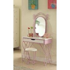 Priya II White and Natural Vanity Set with Mirror