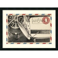 Vintage Airmail II: Airplane Framed Graphic Art