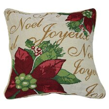 Decorative Christmas Poinsettias Script Design Tapestry Throw Cover