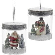 2 Piece Santa and Snowman in Mason Jar Ornament Set