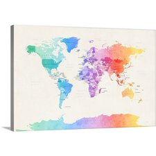 Purchase Now Watercolour Political Map Of The World by Michael