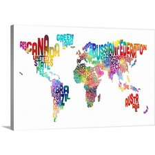 Purchase Now Text Map of the World by Michael Tompsett Textual