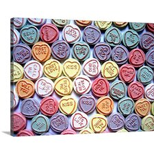 Love Hearts Sweets - Valentines Day' by Michael Tompsett Graphic Art Print on Wrapped Canvas  by Great Big Canvas