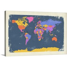 Buy Online Retro Political Map of the World by Michael Tompsett