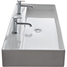 "Teorema 47"" Wall Mounted Bathroom Sink with Overflow"