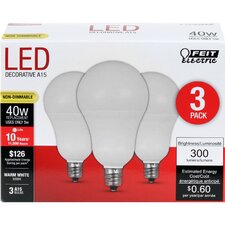 E12 Candelabra LED Light Bulb Pack of 3