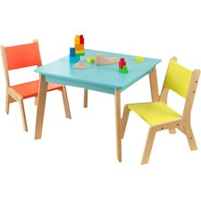 Highlighter Kids 3 Piece Square Table and Chair Set