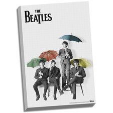 The Beatles 'Black and White with Color Umbrellas' Graphic Art on Wrapped Canvas