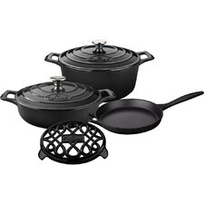 Round Pro Enameled Cast Iron 6-Piece Cookware Set