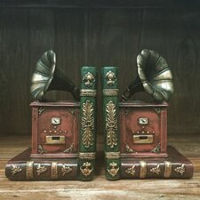 Vintage Gramophone Shelf Tidy Bookends (Set of 2)