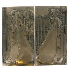 2 Piece Mackintosh Style Art Deco Cold Cast Bronze Wall Décor Set