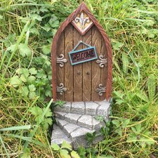 Fairy Curved Step Metalwork Wood Decorative Garden Door Statue