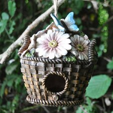 Wicker Flower Basket Hanging Bird House