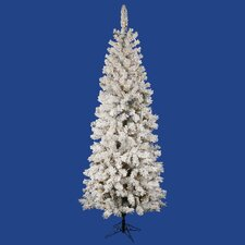 Flocked Pacific 4.5' White Pine Artificial Christmas Tree with 150 LED White Lights with Stand