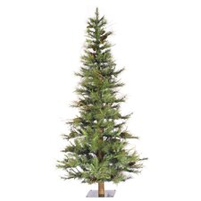 Ashland Wood Trunk Tree with Tips An 4' Green Fir Artificial Christmas Tree with Unlit with Stand