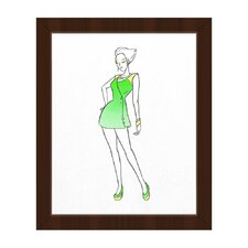Coat Dress Fashion Framed Painting Print on Canvas in Green