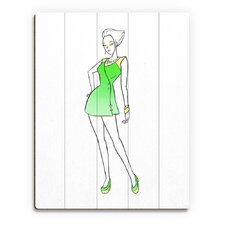 Wood Slats Coat Dress Fashion Painting Print on Plaque in Green