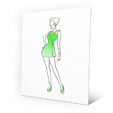 Metal Coat Dress Fashion Painting Print on Plaque in Green