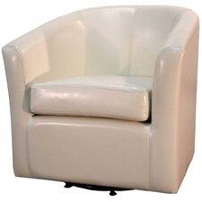 Hayden Swivel Bonded Leather Barrel Chair
