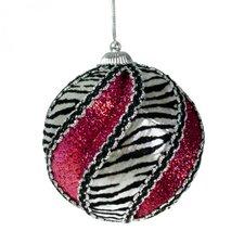 Zebra Design Deluxe Swirl Ball Ornament (Set of 3)