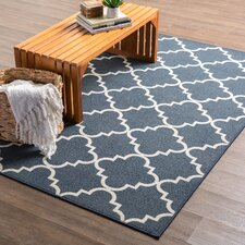 Hanley Navy Blue & White Area Rug