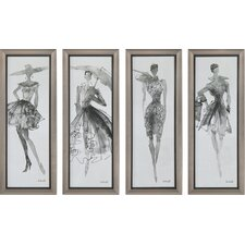Fashion Sketchbook Art 4 Piece Framed Graphic Art Set