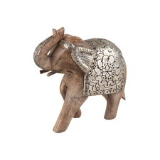 Elephant with Embossed Metal Cladding Figurine