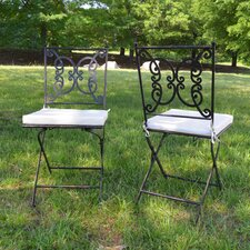 Emilio Folding Dining Metal Side Chair Set with Cushion (Set of 2)