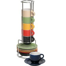 13 Piece Colorful Stacking Espresso Cup and Saucer Set