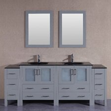 83.5 Double Vanity Set with Mirror by Bosconi