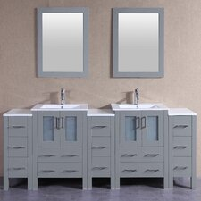 85.5 Double Vanity Set with Mirror by Bosconi
