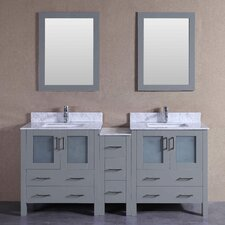 71.3 Double Vanity Set with Mirror by Bosconi