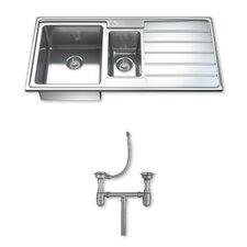 Ultra Modern 97cm x 50cm 1.5 Bowl Inset Kitchen Sink