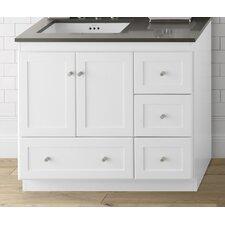 Shaker 36 Bathroom Vanity Cabinet Base in White - Wood Doors on Left by Ronbow