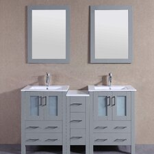 61 Double Vanity Set with Mirror by Bosconi