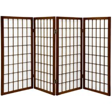 Noan 35.75 x 57 Window Pane Shoji 4 Panel Room Divider by World Menagerie