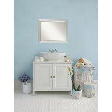 Wood Brushed Sterling Silver Bathroom Mirror Large
