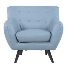 Mid Century Modern Tufted Bonded Leather Armchair