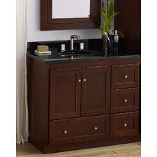 Shaker 36 Bathroom Vanity Cabinet Base in Dark Cherry - Wood Doors on Left by Ronbow