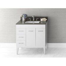 Venus 31 Bathroom Vanity Base Cabinet in White - Doors on Right, Wood Legs by Ronbow