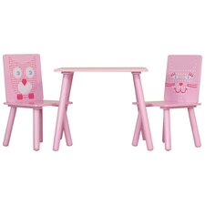 3-tlg. Kinder Tisch und Stuhl-Set Owl and Pussycat