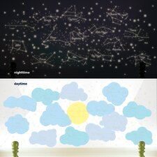 Sunny Day Starry Night Glow in The Dark Wall Decal