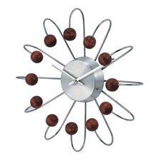 "Telechron Bent Spokes Modern 13"" Wall Clock in Walnut"