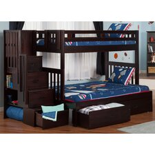 Twin over Full Bunk Bed with Staircase and Storage