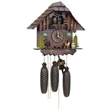 "12.5"" Cuckoo Clock with Beer Drinker and Dancing Figurines"