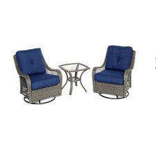 Orleans 3-Piece Swivel Rocking Chat Seating Group with Cushion by Hanover