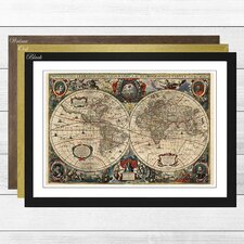'Vintage World Map 2' by Henricus Hondius II Framed Vintage Advertisement