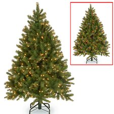 Downswept Douglas 4.5' Green Fir Artificial Christmas Tree with 300 Dual Color® LED Lights Includes Stand